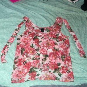 See through, floral print shirt. Wet Seal.
